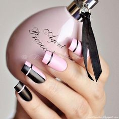 Pink Nails Designs to Look Romantic and Girly Charming Pink And Black Designs Using Nail Tape. Best Pink Nails Designs to Look Romantic and GirlyCharming Pink And Black Designs Using Nail Tape. Best Pink Nails Designs to Look Romantic and Girly White Nail Designs, Pretty Nail Designs, Pretty Nail Art, Nail Polish, Nail Manicure, Manicure Ideas, Nail Ideas, Pink Nails, My Nails