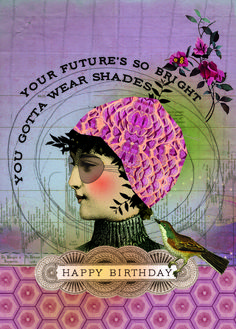 Each card is blank inside and features fine glitter embellishments. Printed on recycled paper. Happy Birthday Vintage, Happy Birthday Images, Happy Birthday Greetings, Birthday Pictures, Happy Birthday Wishes, Happy Birthday Artist, Cool Birthday Cards, Birthday Wishes Cards, Bday Cards