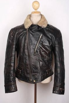 Vtg 40s 50s GERMAN Horsehide Leather D-Pocket Motorcycle Luftwaffe Jacket Large