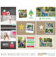 Washi Wonderland Holiday Cards Photoshop Templates Collection by Prairie Sweet Boutique