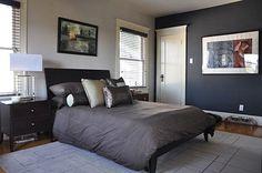 Inspirational Craftsman Homes Interior Ideas: Modern Grey Bedroom White Painted Door Craftsman Style Homes Decor Ideas