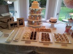 Desert table Visit http://www.brides-book.com for more great wedding resources  Put plates in a suitcase