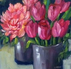 """""""Tulips and Peony"""" - Original Fine Art for Sale - © Libby Anderson"""