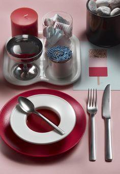 MILLENIUM-  Sweetening your break time with elegant cutlery #Pintinox #posate #cutlery #specialfinishes #mystique #miseenplace #Millenium #marshmallow #pink