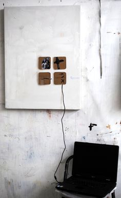 NICOLE WOGG,  Everything is better with USB! 2011 www.nicolewogg.com #paintedcollage #assemblage #artofnicolewogg #studioview Floating Nightstand, Usb, Artists, Group, Studio, Board, Painting, Home Decor, Homemade Home Decor