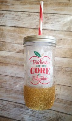 Mason Jar Tumbler/ Custom Mason Jar/ Teacher Tumbler/ Teacher Glitter Mason Jar/ Glitter Mason Jar/ Gifts for Her/ Gifts for Teacher by ALovelyLifeShop on Etsy Mason Jar Breakfast, Mason Jar Lunch, Mason Jar Cups, Mason Jar Tumbler, Fall Mason Jars, Glitter Mason Jars, Glitter Cups, Mason Jar Gifts, Mason Jar Diy