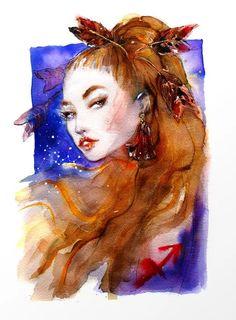 Sagittarius girl Zodiac Watercolor Illustration Art Print by slvn Zodiac Art, Zodiac Signs, Sagittarius Astrology, Watercolor Illustration, Watercolour Painting, Art Techniques, Female Art, Art Photography, Art Prints