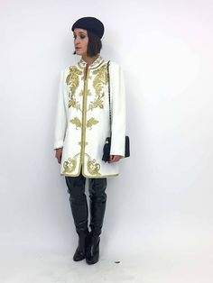 vintage gold embroidered jacket dress medium large the