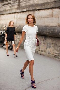 all white w/ navy heels
