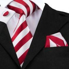 Hi-Tie Fashion 40 Styles Gravata Tie Hanky Cufflink Sets Silk Neckties Grey And Gold, Red And White Stripes, Red Black, Tie Crafts, Mens Silk Ties, Men Ties, Cufflink Set, Tie Styles, Outfit Trends