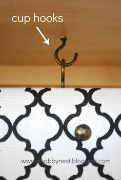 use cup hooks & fabric to hide computer cords. From wendy @ the shabby nest Computer Desk Organization, Toddler Closet Organization, Small Apartment Organization, Clutter Organization, Home Office Organization, Organization Ideas, Organization Station, Closet Ideas, Hide Computer Cords