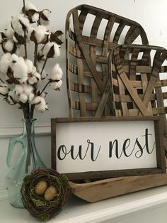 Vintage Farmhouse Decor Farmhouse Style - The Our Nest sign would be a great addition to your home décor or even a great gift. - Approximately ( /- up - Unattached saw tooth hanger - Stained frame - Painted background Country Farmhouse Decor, Farmhouse Style Decorating, Rustic Decor, Farmhouse Mantel, Modern Country, Farmhouse Interior, Vintage Farmhouse, Rustic Modern, Rustic Style