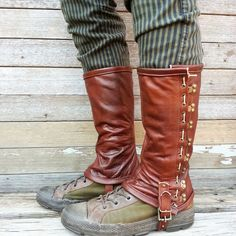 Caramel Brown Garment Leather Steampunk Spats or by VampieOodles