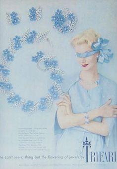 Vintage Trifari Flowering Fern Pink White Enamel Rhinestone Bracelet  Earrings 1958 AD