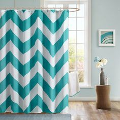 Mizone Aries Chevron Microfiber Shower Curtain | Overstock.com Shopping - The Best Deals on Shower Curtains