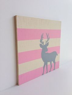 Hand Painted Woodland Deer, Woodland Nursery Art, Pink and Gray Decor, Woodland Critter, Deer Art, Baby Girl Woodland Nursery, Forest Animal on Etsy, $40.00