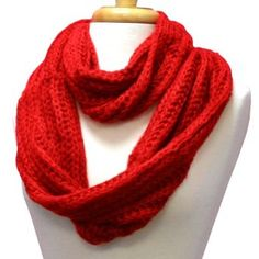 Red Mohair Feel Circle Ring Infinity Scarf Neck Warmer Luxury Divas. $13.99