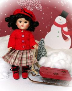 "*SNoWBouND*..a HandKnit Sweater, Skirt, Hat, +Tights for Ginny,Muffie 7.5"" DoLLs #ClothingAccessories"