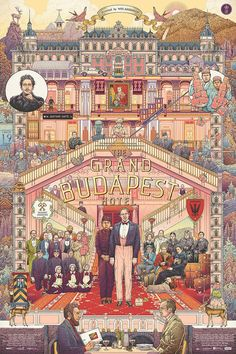 The Grand Budapest Hotel Fan Art Poster by illustrator Ise Ananphada | Creative Spotlight // 6 Artists Inspired by Wes Anderson's Fantasical Movies