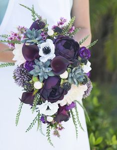 Wedding Bouquet, Succulent Bouquet, Real Touch Bouquet, Boho Bouquet, Peony Bouquet, Purple Bouquet, Rustic Bouquet, Cascading Bouquet