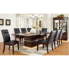 Furniture of America Langfield Modern Dining Table with Extension Leaf - IDF-3130T