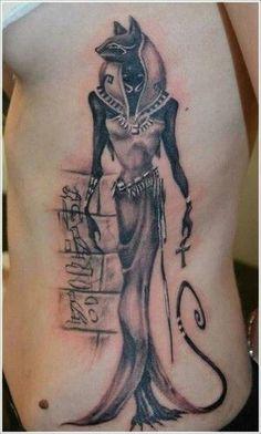 Egyptian Bast tattoo on ribs