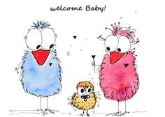 """Glückwunschkarte """"welcome baby"""" in der Malwerkstatt mit Herz Greeting card """"welcome baby"""" in the painting workshop with heart Watercolor Animals, Watercolor Cards, Watercolor Paintings, Kunstjournal Inspiration, Art Journal Inspiration, Bird Drawings, Cute Drawings, Mini Canvas Art, Art Corner"""