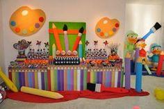 Decoração de mesa para Festa Pintando o Sete