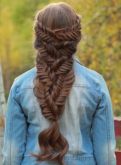 Fishtail downdo for long hair.