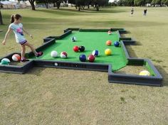 Pool table soccer for the kids! - Pool table soccer for the kids! Pool table soccer for the kids! Lawn Games, Backyard Games, Backyard Ideas, Giant Garden Games, Backyard Seating, Backyard Landscaping, Outdoor Activities, Activities For Kids, Camping Activities
