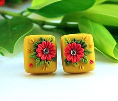 Japanese Embroidery Flowers Yellow Red Floral Embroidery Polymer Clay Stud - Note: This is a made-to-order product and will be dispatched within 10 days from the date of booking. Cute Polymer Clay, Polymer Clay Flowers, Polymer Clay Necklace, Polymer Clay Projects, Polymer Clay Creations, Handmade Polymer Clay, Polymer Clay Earrings, Clay Magnets, Polymer Clay Embroidery