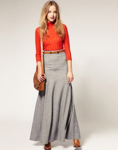 Kind of like this long wool skirt. I bet you'd immediately go into a flop sweat if you put it on, though. Maxi Skirt Outfits, Modest Outfits, Modest Fashion, Dress Skirt, Fashion Outfits, Long Maxi Skirts, Winter Maxi, Winter Rock, Winter Skirt