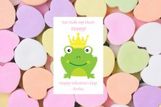 You Make my Heart Hoppy Valentine. Shop the entire collection of 75+ Valentines in our online store.  #youmakemehoppy #frogprincevalentine #valentinesexchange #classroomexchange #printablevalentines