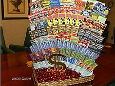 best ideas for basket ideas raffle lottery tickets Fundraiser Baskets, Raffle Baskets, Gift Baskets, Lottery Ticket Tree, Raffle Prizes, Raffle Ideas, Prize Ideas, Theme Baskets, Silent Auction Baskets