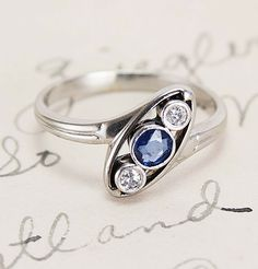 French Machinist Diamond and Sapphire Engagement Ring, $900.00
