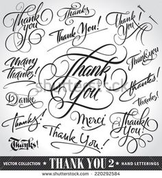 Set of custom THANK YOU hand lettering -- handmade calligraphy, vector (eps8) - stock vector #download #stock #StockImages #microstock #royaltyfree #vectors #calligraphy #HandLettering #lettering #design #letterstock #silhouette #decor #printable #printables #craft #diy #card #cards #label #tag #sign #vintage #typography