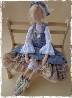 Купить Коллекционная кукла Тильда в стиле Бохо - голубой, тильда, тильда кукла