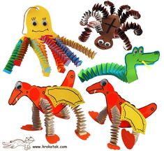 he interesting thing about these paper animals are the accordion-folded legs, feelers or bodies. You can use the same method to design other creatures. You'd get shorter spirals if you cut an A4 sheet of paper lengthwise. If you're planning to make this craft with kids, it would be better to use thicker strips and even glue them together to make a longer spiral which could easily be folded by little hands.