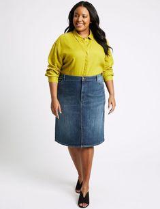 d28bd67798f MARKS  amp  SPENCER Curve Cotton Rich Stretch Midi Denim Skirt Size UK 30  LADIES