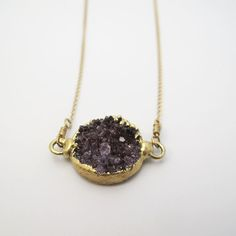 Amethyst Druzy Charm Necklace.  Made by Sayulita Sol Jewelry. #dije #druzy #collar #hechoenmexico #amatista #novias #bodas #joyería