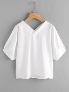 Shop Double V Neckline Cross Blouse online. SheIn offers Double V Neckline Cross Blouse & more to fit your fashionable needs. Kurta Designs, Blouse Designs, Casual Outfits, Fashion Outfits, Schneider, Blouse Online, White Shirts, Blouse Styles, Half Sleeves