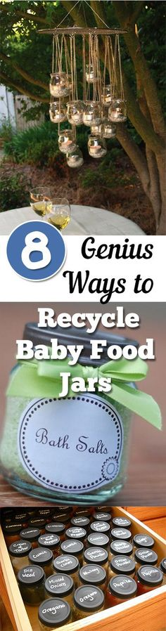 Don't throw away all those baby food jars! These are just a few of the many ways you can recycle and re-use!                                                                                                                                                                                 More