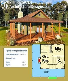 Plan Cozy Vacation Retreat : Architectural Designs Tiny House Plan gives you over 500 square feet of heated living space with a kitchen, great room and bed/bath plus an L-shaped porch to enjoy the views. Where do YOU want to build? Cabin House Plans, Tiny House Cabin, Tiny House Living, Small House Plans, House Floor Plans, Tiny Cabin Plans, Tiny House On Trailer, Cabin Floor Plans Small, Dog Trot House Plans