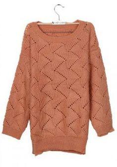 Peach Round Neck Vertical Eyelet Striped Jumper Sweater - Sheinside.com