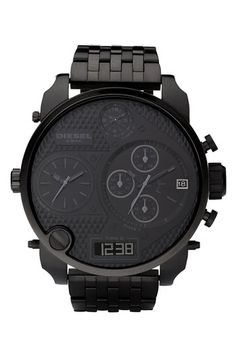 DIESEL® Time Zone Oversized Bracelet Watch #AllBlackEverything