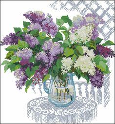 Flowers Lilac Cross Stitch Pattern Chart