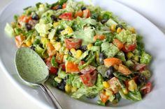 Southwestern Chopped Salad with Cilantro-Lime Dressing. Southwestern Chopped Salad with Cilantro-Lime Dressing Recipes We're wild for this Southwestern Chopped Salad tossed in the most delicious. Mexican Salads, Vegan Mexican Recipes, Vegetarian Recipes, Cooking Recipes, Healthy Recipes, Vegan Meals, Vegetarian Mexican, Mexican Chopped Salad, Chopped Salads