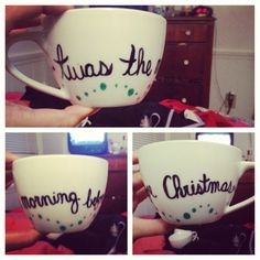 ceramic + sharpie + oven at 350 for 30 minutes. super cheap yet cute & personalized Christmas gifts for the family!