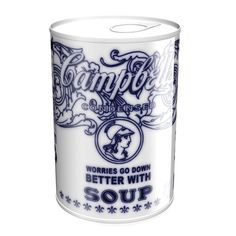 Warhols' Campbell soup in Delft Blue