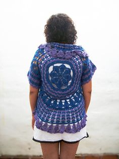 Round crochet jacket, crochet vest, blue and violet crochet bolero, crochet cardigan, Crochet for woman, crochet fashion, crochet clothings,...